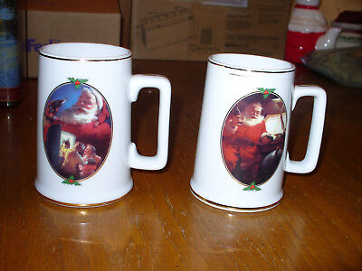 TWO NEW 1996 Christmas Santa Coca-Cola Collector Mugs Gold Trim Ultimate Source