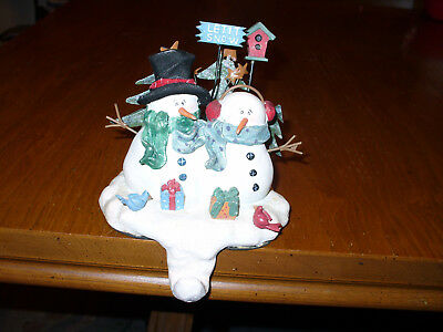 Crazy Mountain Snowman Snowmen Christmas Stocking Holder Hanger Let It Snow