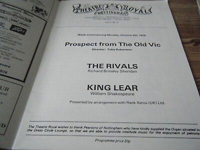 1978  Theatre  Programme -   King Lear  With  Anthony Quayle  - Nottingham  Vgc