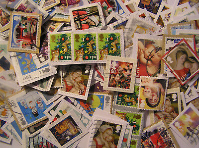 25 grammes Of GB High Value Christmas / Xmas Stamps as Kiloware