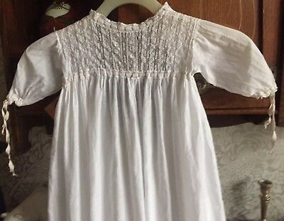 Edwardian Baby's Child's Cotton Night Dress Robe Embroidery Lace