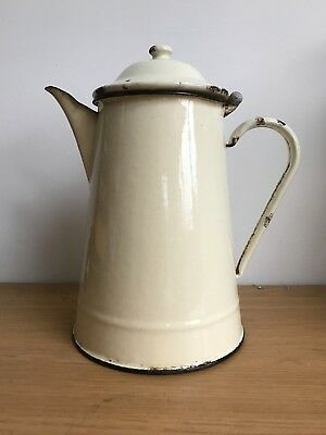 Antique Vintage Classic Cream Enamel French-Style Coffee Pot