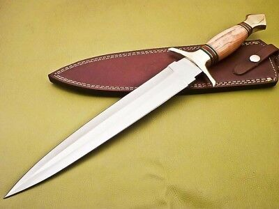 Rody Stan HUGE HAND MADE D2 BLADE DAGGER KNIFE - OLIVE WOOD - SM-5741