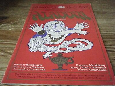 1977    Theatre  Programme -  Aladdin -   Bristol Old Vic -  Theatre Royal  Vgc