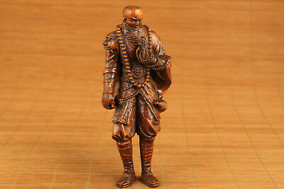 chinese old boxwood hand carved buddha Magebane statue netsuke collectable art