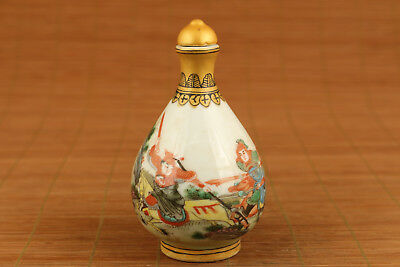 chinese old porcelain hand painting Xuanwu gate incident statue snuff bottle