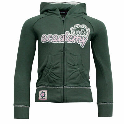 Fila Hooded Fleece Lined Cotton Full Zip Jacket Girls Kids Green U91493 329 A7C