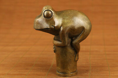big bronze hand carved frog statue walking stick head accessories