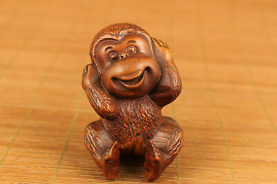 Rare Chinese Old Boxwood Handmade Carved monkey lovely Statue hand piece