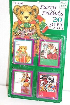 Vintage Cleo Furry Friends Christmas Present Gift Tags Trimming 19