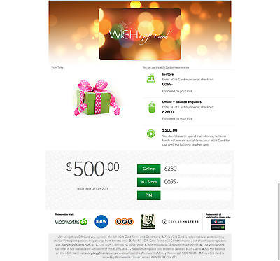 Woolworths WISH 1x $500 ($500 in total) Electronic Gift Card #1