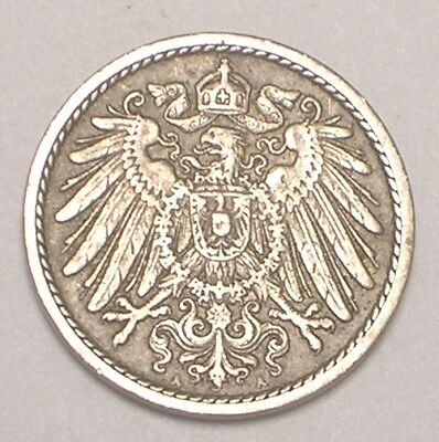 1901 A German Germany 5 Pfennig Eagle Coin VF Tone