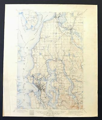 Seattle Washington Vintage USGS Topo Map 1895 Snohomish 30-minute Topographical