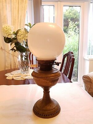 Antique Hinks Brass Oil Lamp With Milk Glass Shade And Glass Chimney