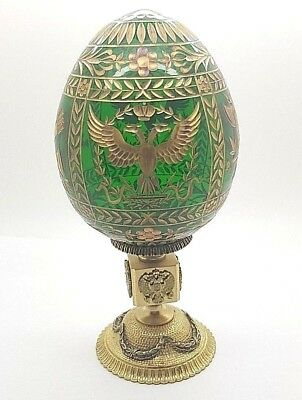Faberge Imperial Napoleonic Crystal Egg Gold Detailing Russian Made