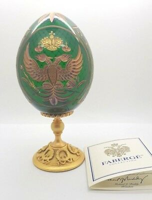 Faberge Imperial Romanov Eagle Crystal Egg Gold Detailing Russian Made