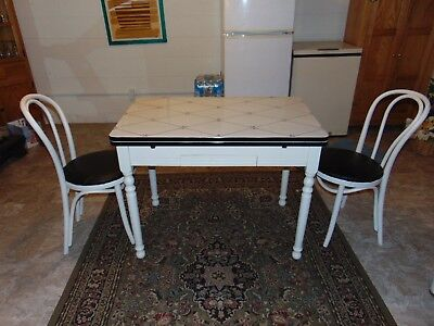 Vintage  Table, Porcelain Stenciled Top & Wood Base with Drawer 2 chairs inc.