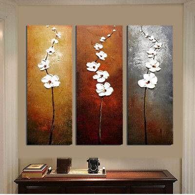 3Pcs Home Decor Colorful Flower Unframed Canvas Abstract Painting