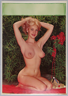 Vintage 1950s Technicolor Photo-Litho Pin-Up Print Nude Blonde is Golden Beauty