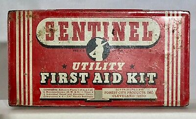 Vintage Sentinel Utility First Aid Kit Tin - fair condition