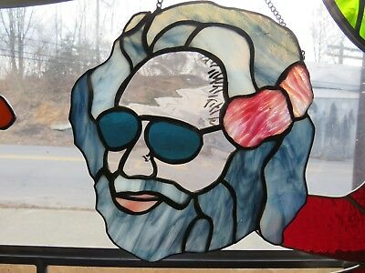 Stained Glass Jerry Garcia Grateful Dead  small chain hung panel  8 -9 inches