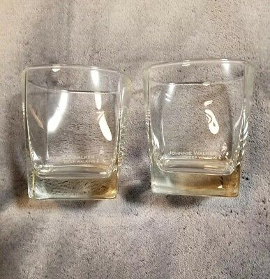 Johnnie Walker KEEP WALKING Scotch Whisky Square Base Rocks Glasses (2) NEW!