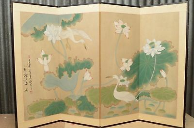 Vintage Japanese Chinese 4 Panel Folding Screen Byobu GOLD Painted 53x35 asian