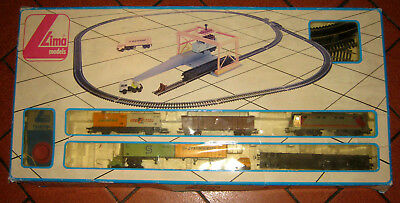 LIMA H0 HO 1:87 Start set scarica container, 2x camion carro merci locomotore FS