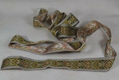 "gold metallic ribbon braid trim antique woven 1.5 x 85"" new old stock"