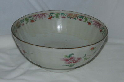 antique 1800's early CHINESE EXPORT PAINTED BOWL Fruit dish ROSE FAMILLE flowers