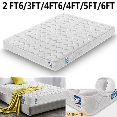 Soft Memory Foam Quilted Sprung Mattress Single 3ft Double 4ft6 King 5ft 6ft New