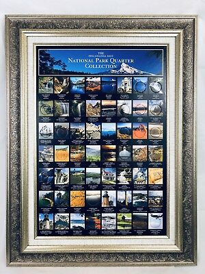 Philadelphia Mint US National Park Quarter Collection Framed Wall Display New