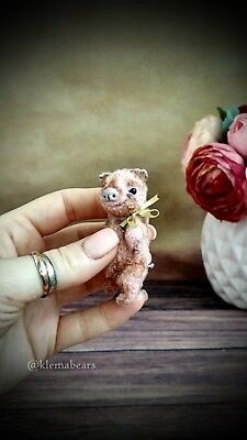 Pink pig in the technique of Teddy-miniature, Cute gift