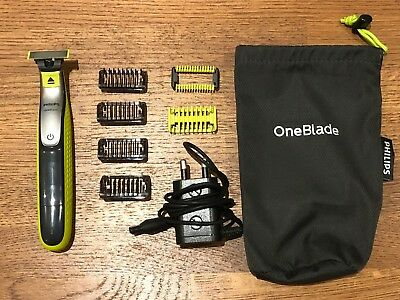 Philips OneBlade Hybrid Body and Face Trimmer with 4 x Lengths and Travel Pouch