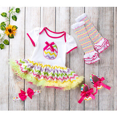 4PCS Easter Infant Baby Girls Romper Dress + Shoes +Headband + Socks Outfits Set