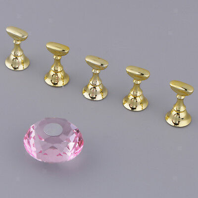 5 Pcs Nail Tips Practice Stand Magnetic Stuck Nail Art Crystal Holder Shelf