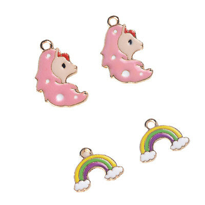 10pc Horse/Rainbow Charms Bracelet Necklace Earrings Findings Craft Supplies