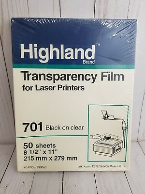 Highland Transparency Film 701 Clear Laser Printers 3M 50 Sheets Sealed