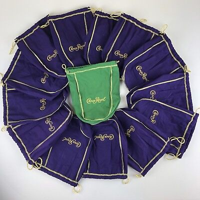 Lot of 14 Crown Royal Bags 750 ml 13 Purple, 1 Green Apple ~ Quilting ~ Crafting