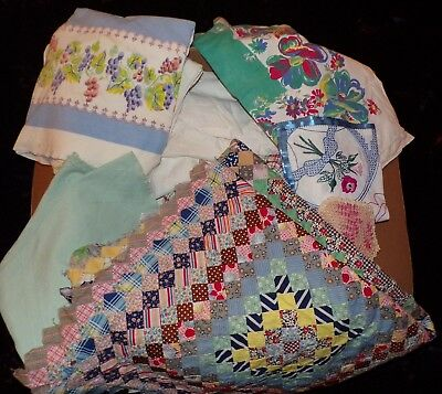 25lb Lot Large Vintage Linens Embroidered Tablecloths Runners Misc Lot of 20