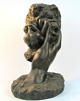 Auguste Rodin's Hand Of God Adam & Eve Sculpture Vintage Marwal Reproduction