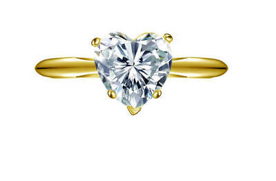 2 Ct Heart Cut Diamond Solitaire Engagement Promise Ring Solid 14K Yellow Gold