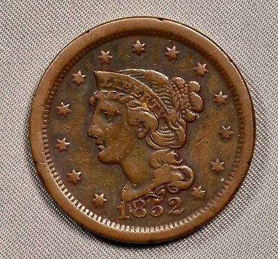 1852 Coronet Large Cent VF very fine NICE EXAMPLE free of marks no rim dings