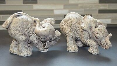 "The Herd Elephant ""Scratch"" & ""Sniff"" 3114-3115 Retired 1991 Martha Carey Figure"