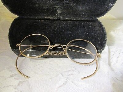 "Pair of Antique Eyeglasses w Case-Marked ""A"" in a Circle-Julius Lando,Optician"