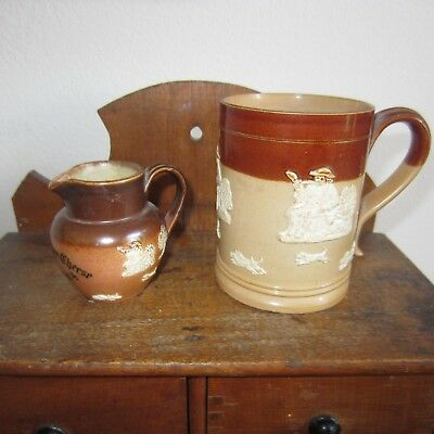 two pieces antique Royal Doulton Lambeth mug and mini pitcher