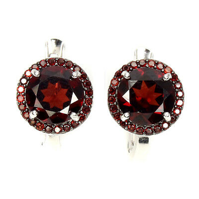 Gorgeous Round 6mm Top Black Red Mozambique Garnet 925 Sterling Silver Earrings