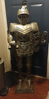 Medieval Knight Armour Statue 5 Foot Alumi Life Size Standing Sword
