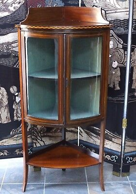 Antique Mahogany Corner Cabinet Cupboard Victorian Vintage - Delivery Available