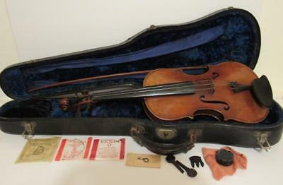 Vintage 1920s Antonio Loveri German Violin with Case & Bow 4/4 Size